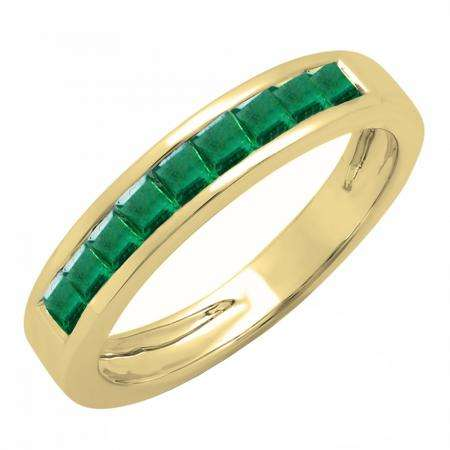 0.75 Carat (ctw) 18K Yellow Gold Princess Cut Emerald Ladies Anniversary Wedding Band Stackable Ring 3/4 CT