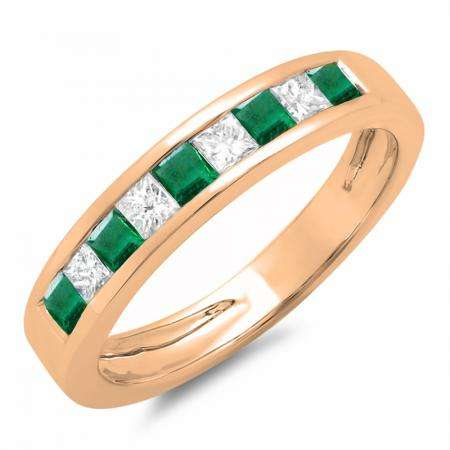 0.65 Carat (ctw) 18K Rose Gold Princess Cut Emerald & Rose Diamond Ladies Anniversary Wedding Band Stackable Ring