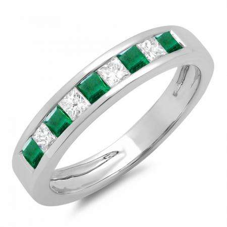 0.65 Carat (ctw) 18K White Gold Princess Cut Emerald & White Diamond Ladies Anniversary Wedding Band Stackable Ring