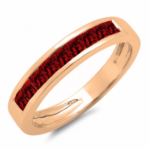 0.75 Carat (ctw) 18K Rose Gold Princess Cut Garnet Ladies Anniversary Wedding Band Stackable Ring 3/4 CT