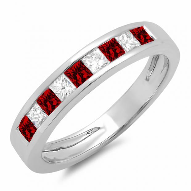 0.55 Carat (ctw) 10K White Gold Princess Cut Garnet & White Diamond Ladies Anniversary Wedding Band Stackable Ring 1/2 CT