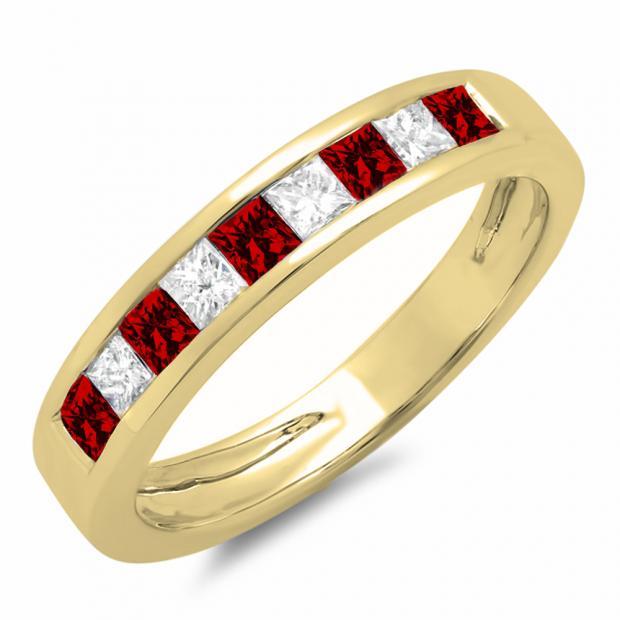 0.55 Carat (ctw) 10K Yellow Gold Princess Cut Garnet & White Diamond Ladies Anniversary Wedding Band Stackable Ring 1/2 CT