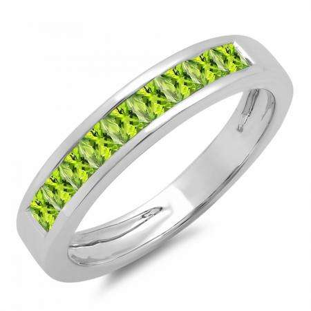 0.75 Carat (ctw) 10K White Gold Princess Cut Peridot Ladies Anniversary Wedding Band Stackable Ring 3/4 CT