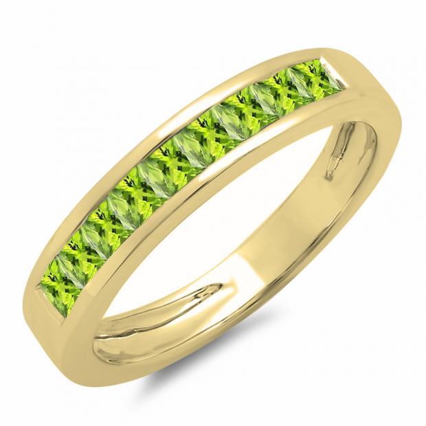 0.75 Carat (ctw) 10K Yellow Gold Princess Cut Peridot Ladies Anniversary Wedding Band Stackable Ring 3/4 CT