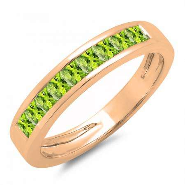 0.75 Carat (ctw) 18K Rose Gold Princess Cut Peridot Ladies Anniversary Wedding Band Stackable Ring 3/4 CT