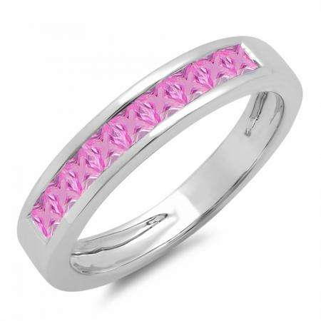0.75 Carat (ctw) 10K White Gold Princess Cut Pink Sapphire Ladies Anniversary Wedding Band Stackable Ring 3/4 CT