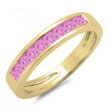 0.75 Carat (ctw) 14K Yellow Gold Princess Cut Pink Sapphire Ladies Anniversary Wedding Band Stackable Ring 3/4 CT