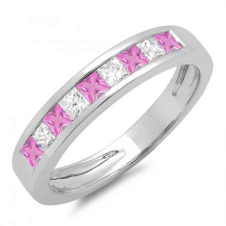 0.75 Carat (ctw) 10K White Gold Princess Cut Pink Sapphire & White Diamond Ladies Anniversary Wedding Band Stackable Ring 3/4 CT