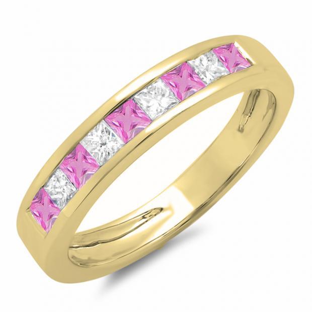0.75 Carat (ctw) 10K Yellow Gold Princess Cut Pink Sapphire & White Diamond Ladies Anniversary Wedding Band Stackable Ring 3/4 CT
