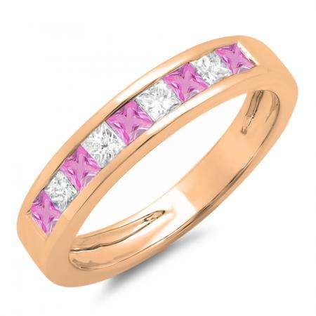 0.75 Carat (ctw) 14K Rose Gold Princess Cut Pink Sapphire & White Diamond Ladies Anniversary Wedding Band Stackable Ring 3/4 CT