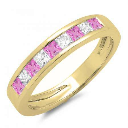 0.75 Carat (ctw) 18K Yellow Gold Princess Cut Pink Sapphire & White Diamond Ladies Anniversary Wedding Band Stackable Ring 3/4 CT