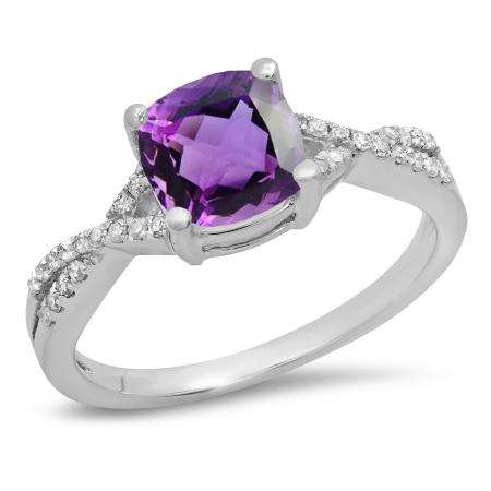 1.45 Carat (ctw) 10K White Gold Cushion Cut Amethyst & Round White Diamond Ladies Swirl Split Shank Bridal Engagement Ring 1 1/2 CT