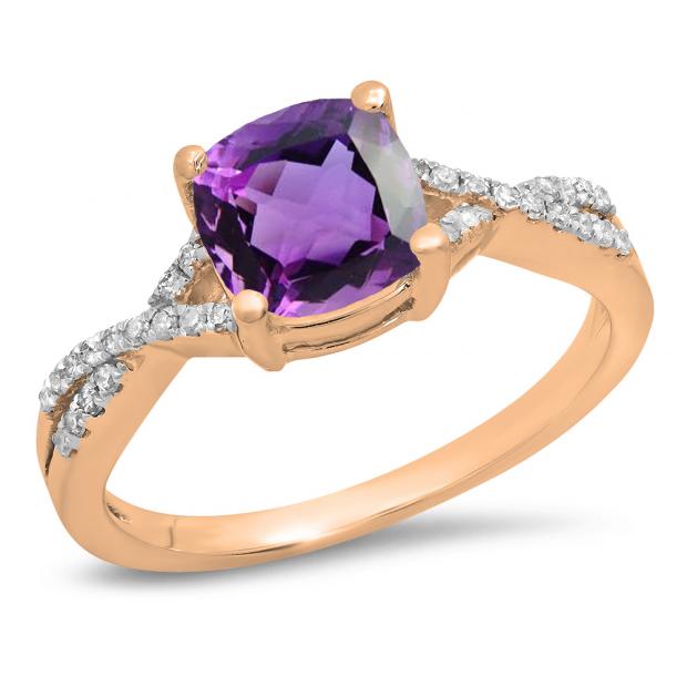 1.45 Carat (ctw) 14K Rose Gold Cushion Cut Amethyst & Round White Diamond Ladies Swirl Split Shank Bridal Engagement Ring 1 1/2 CT