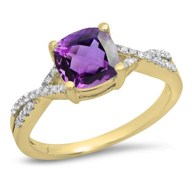 1.45 Carat (ctw) 18K Yellow Gold Cushion Cut Amethyst & Round White Diamond Ladies Swirl Split Shank Bridal Engagement Ring 1 1/2 CT