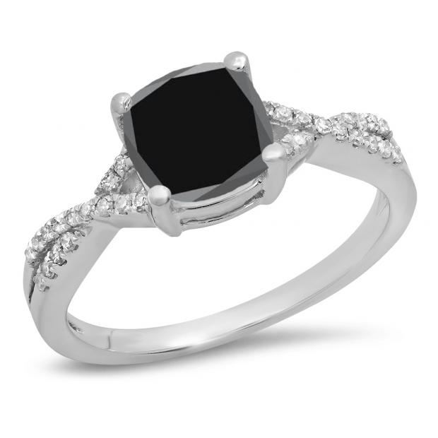 1.45 Carat (ctw) 10K White Gold Cushion Cut Black Sapphire & Round White Diamond Ladies Swirl Split Shank Bridal Engagement Ring 1 1/2 CT