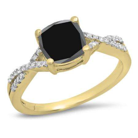 1.45 Carat (ctw) 14K Yellow Gold Cushion Cut Black Sapphire & Round White Diamond Ladies Swirl Split Shank Bridal Engagement Ring 1 1/2 CT