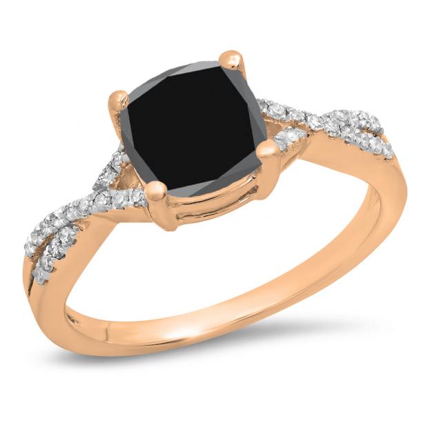 1.45 Carat (ctw) 18K Rose Gold Cushion Cut Black Sapphire & Round White Diamond Ladies Swirl Split Shank Bridal Engagement Ring 1 1/2 CT