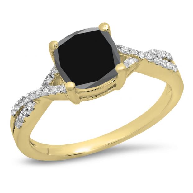 1.45 Carat (ctw) 18K Yellow Gold Cushion Cut Black Sapphire & Round White Diamond Ladies Swirl Split Shank Bridal Engagement Ring 1 1/2 CT