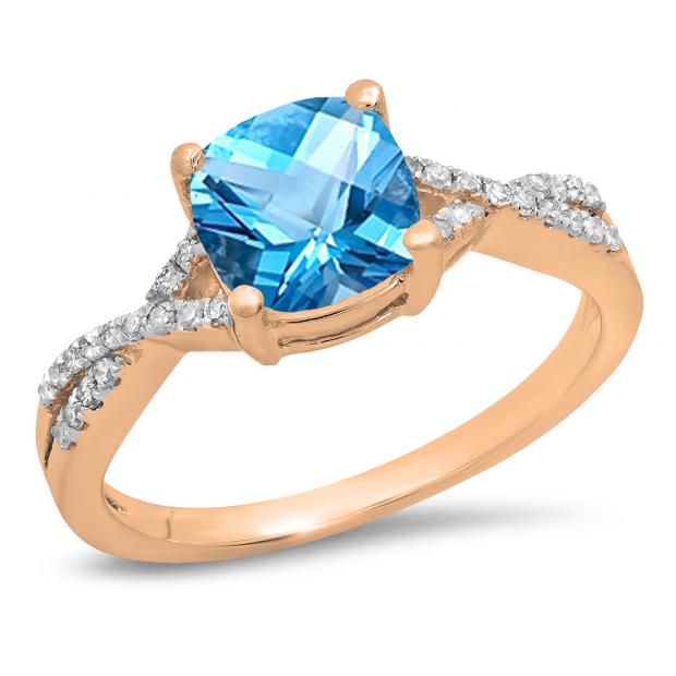 1.45 Carat (ctw) 10K Rose Gold Cushion Cut Blue Topaz & Round White Diamond Ladies Swirl Split Shank Bridal Engagement Ring 1 1/2 CT