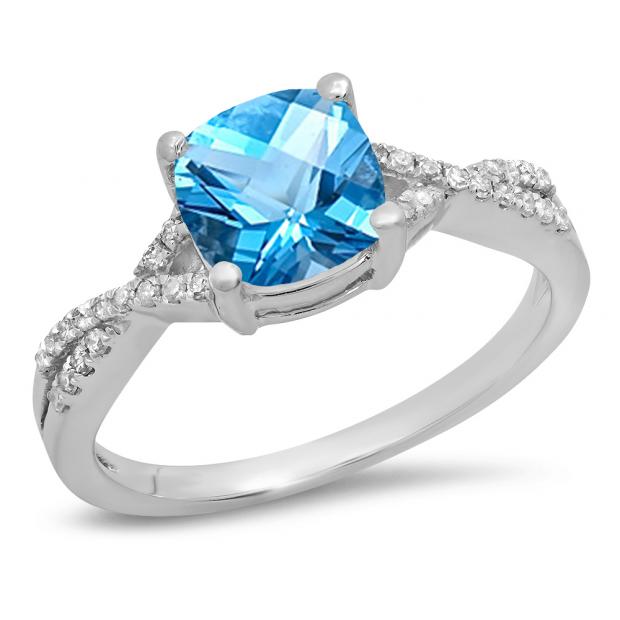 1.45 Carat (ctw) 10K White Gold Cushion Cut Blue Topaz & Round White Diamond Ladies Swirl Split Shank Bridal Engagement Ring 1 1/2 CT