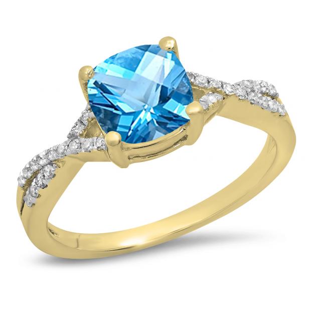 1.45 Carat (ctw) 10K Yellow Gold Cushion Cut Blue Topaz & Round White Diamond Ladies Swirl Split Shank Bridal Engagement Ring 1 1/2 CT