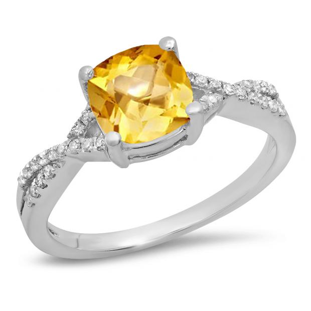 1.45 Carat (ctw) 10K White Gold Cushion Cut Citrine & Round White Diamond Ladies Swirl Split Shank Bridal Engagement Ring 1 1/2 CT