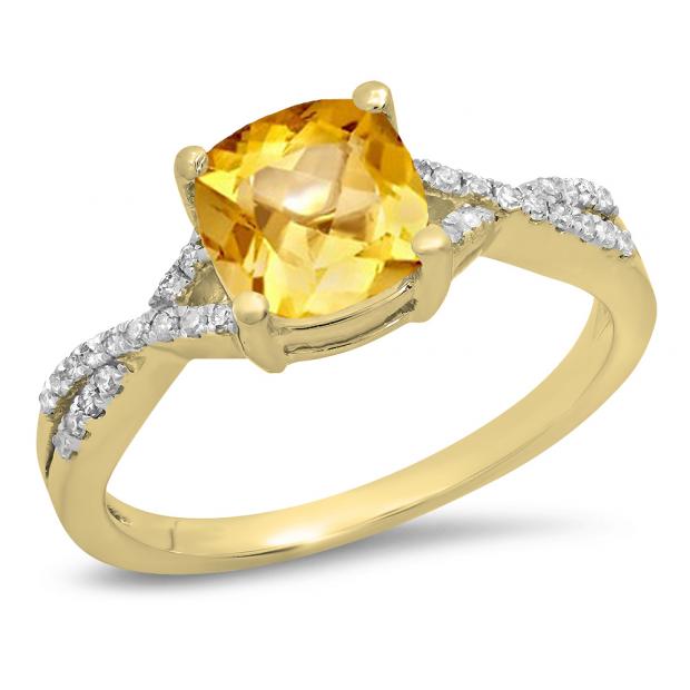 1.45 Carat (ctw) 10K Yellow Gold Cushion Cut Citrine & Round White Diamond Ladies Swirl Split Shank Bridal Engagement Ring 1 1/2 CT