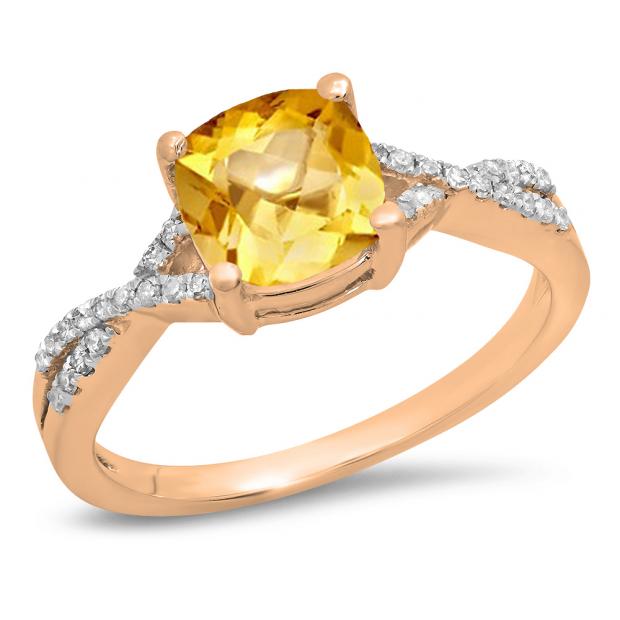 1.45 Carat (ctw) 14K Rose Gold Cushion Cut Citrine & Round White Diamond Ladies Swirl Split Shank Bridal Engagement Ring 1 1/2 CT