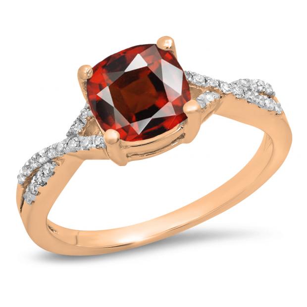 1.45 Carat (ctw) 10K Rose Gold Cushion Cut Garnet & Round White Diamond Ladies Swirl Split Shank Bridal Engagement Ring 1 1/2 CT