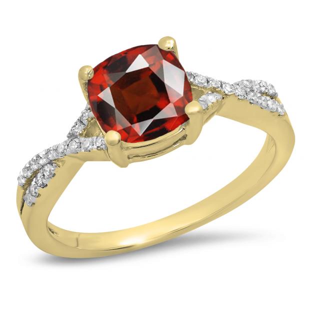 1.45 Carat (ctw) 14K Yellow Gold Cushion Cut Garnet & Round White Diamond Ladies Swirl Split Shank Bridal Engagement Ring 1 1/2 CT