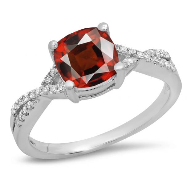 1.45 Carat (ctw) 18K White Gold Cushion Cut Garnet & Round White Diamond Ladies Swirl Split Shank Bridal Engagement Ring 1 1/2 CT