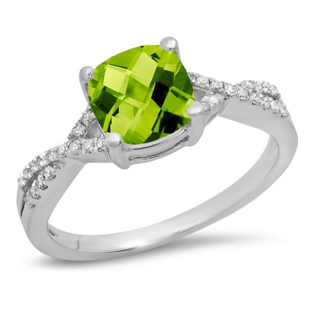 1.45 Carat (ctw) 10K White Gold Cushion Cut Peridot & Round White Diamond Ladies Swirl Split Shank Bridal Engagement Ring 1 1/2 CT