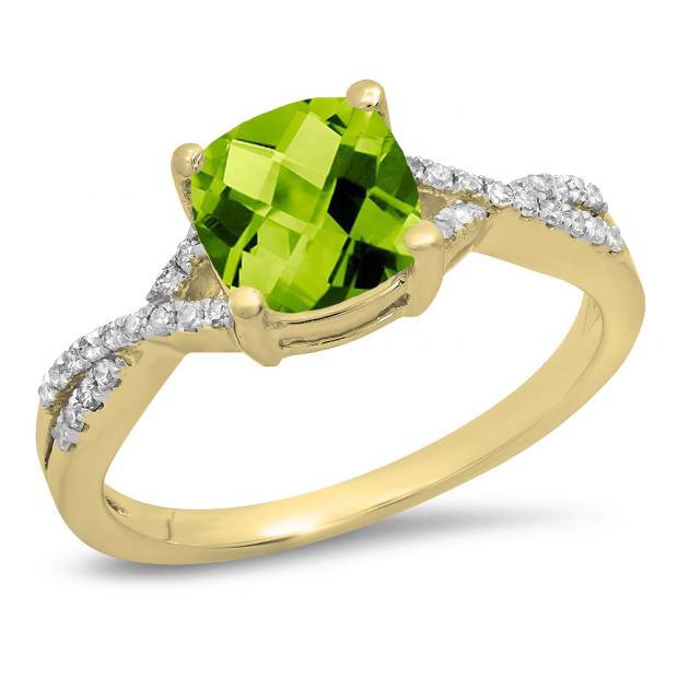 1.45 Carat (ctw) 10K Yellow Gold Cushion Cut Peridot & Round White Diamond Ladies Swirl Split Shank Bridal Engagement Ring 1 1/2 CT