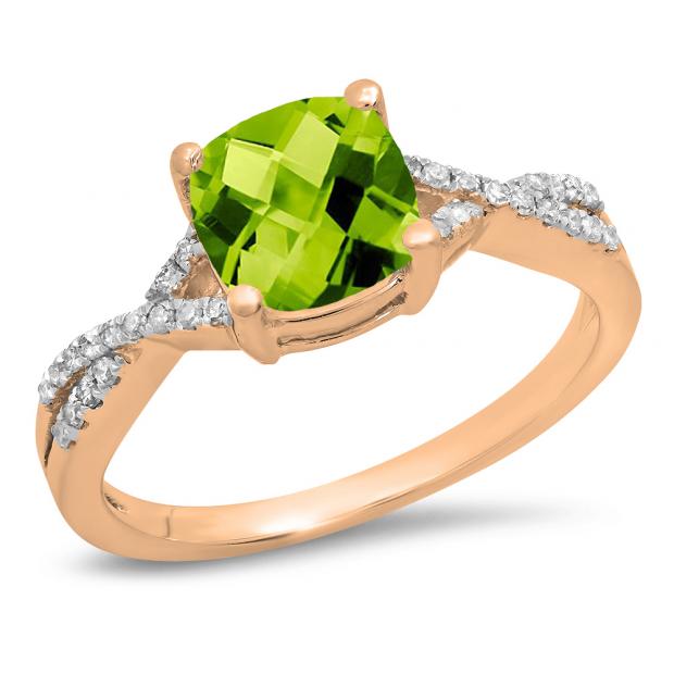 1.45 Carat (ctw) 14K Rose Gold Cushion Cut Peridot & Round White Diamond Ladies Swirl Split Shank Bridal Engagement Ring 1 1/2 CT