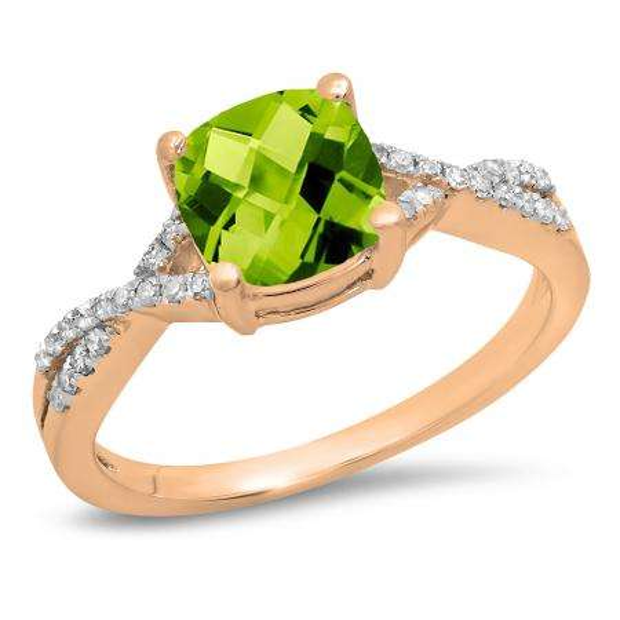 1.45 Carat (ctw) 18K Rose Gold Cushion Cut Peridot & Round White Diamond Ladies Swirl Split Shank Bridal Engagement Ring 1 1/2 CT