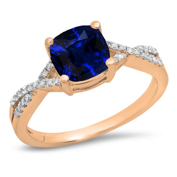1.45 Carat (ctw) 10K Rose Gold Cushion Cut Blue Sapphire & Round White Diamond Ladies Swirl Split Shank Bridal Engagement Ring 1 1/2 CT