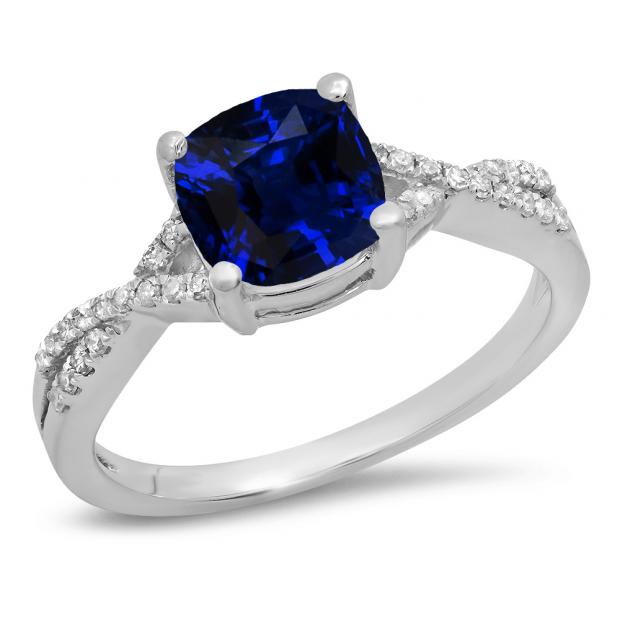 1.45 Carat (ctw) 14K White Gold Cushion Cut Blue Sapphire & Round White Diamond Ladies Swirl Split Shank Bridal Engagement Ring 1 1/2 CT