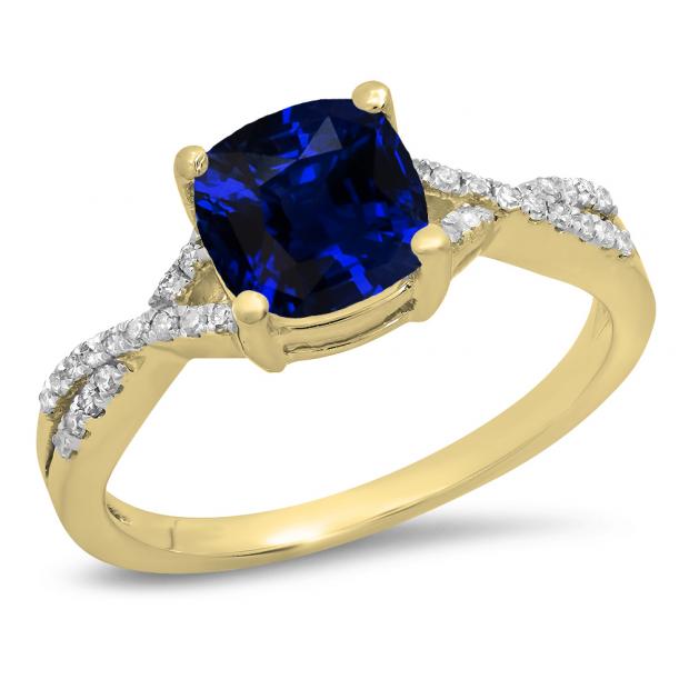 1.45 Carat (ctw) 18K Yellow Gold Cushion Cut Blue Sapphire & Round White Diamond Ladies Swirl Split Shank Bridal Engagement Ring 1 1/2 CT