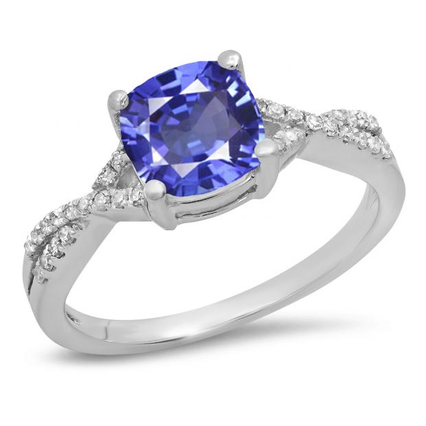 1.45 Carat (ctw) 10K White Gold Cushion Cut Tanzanite & Round White Diamond Ladies Swirl Split Shank Bridal Engagement Ring 1 1/2 CT