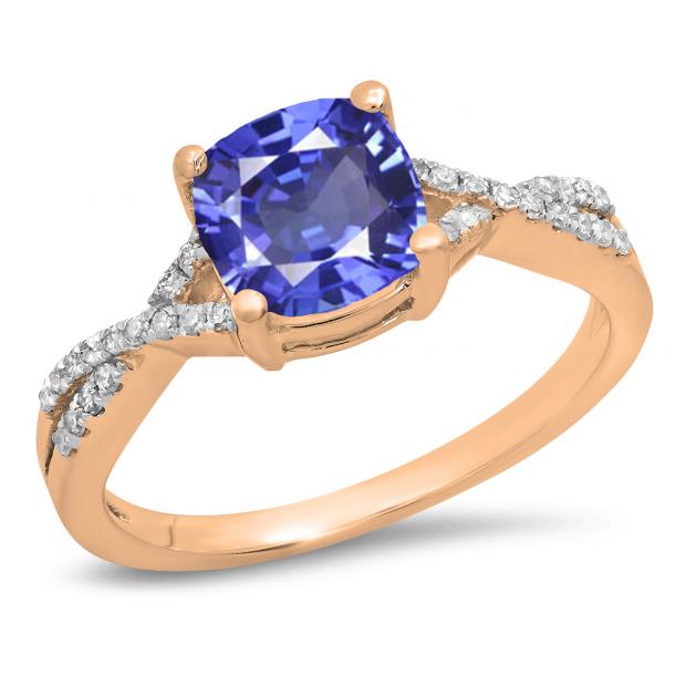 1.45 Carat (ctw) 18K Rose Gold Cushion Cut Tanzanite & Round White Diamond Ladies Swirl Split Shank Bridal Engagement Ring 1 1/2 CT