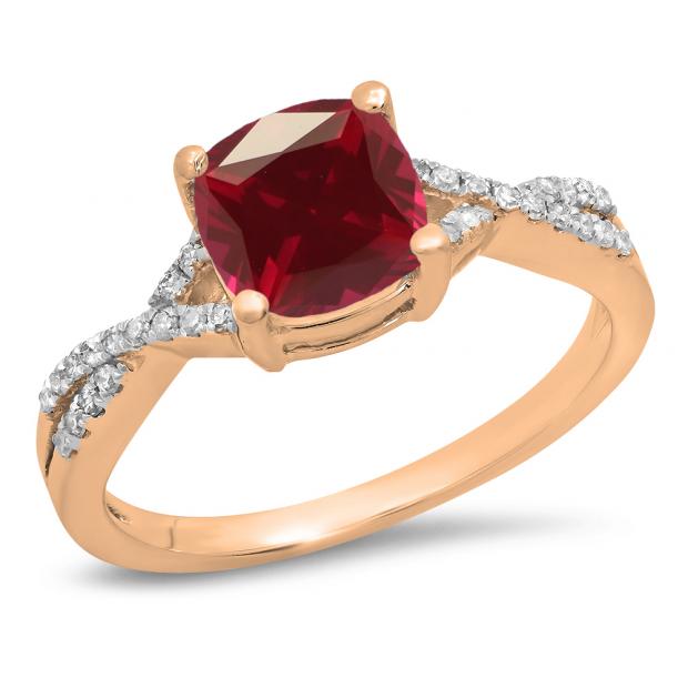 1.45 Carat (ctw) 10K Rose Gold Cushion Cut Ruby & Round White Diamond Ladies Swirl Split Shank Bridal Engagement Ring 1 1/2 CT