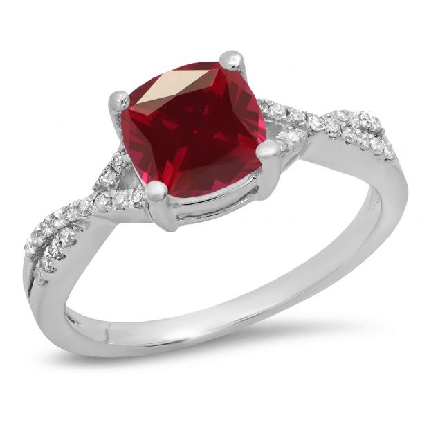 1.45 Carat (ctw) 10K White Gold Cushion Cut Ruby & Round White Diamond Ladies Swirl Split Shank Bridal Engagement Ring 1 1/2 CT