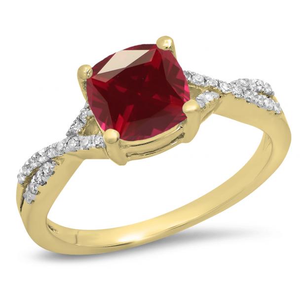 1.45 Carat (ctw) 18K Yellow Gold Cushion Cut Ruby & Round White Diamond Ladies Swirl Split Shank Bridal Engagement Ring 1 1/2 CT