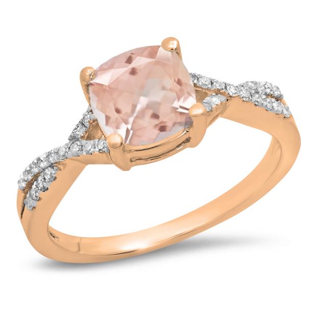 1.45 Carat (ctw) 14K Rose Gold Cushion Cut morganite & Round White Diamond Ladies Swirl Split Shank Bridal Engagement Ring 1 1/2 CT