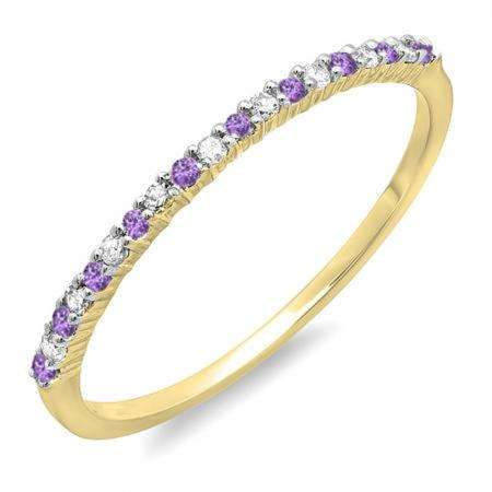 0.10 Carat (ctw) 10K Yellow Gold Round Amethyst & White Diamond Ladies Anniversary Wedding Band Stackable Ring
