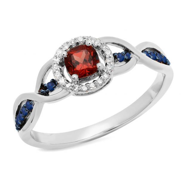 0.55 Carat (ctw) 10K White Gold Cushion Garnet & Round Blue Sapphire & White Diamond Ladies Swirl Split Shank Halo Style Bridal Engagement Ring 1/2 CT