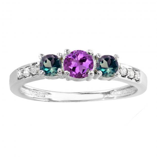 a063944ae3d9f 0.50 Carat (ctw) 10K White Gold Round Amethyst, Alexandrite & White Diamond  Ladies Three Stone Engagement Bridal Ring 1/2 CT