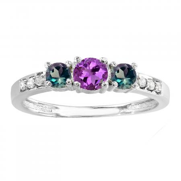 0.50 Carat (ctw) 14K White Gold Round Amethyst, Alexandrite & White Diamond Ladies Three Stone Engagement Bridal Ring 1/2 CT