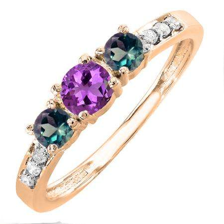 0.50 Carat (ctw) 18K Rose Gold Round Amethyst, Alexandrite & White Diamond Ladies Three Stone Engagement Bridal Ring 1/2 CT