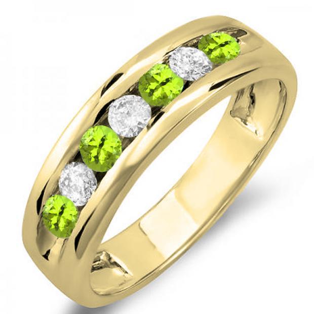 0.85 Carat (ctw) 14K Yellow Gold Round Peridot & White Diamond Mens Anniversary Wedding Band Ring